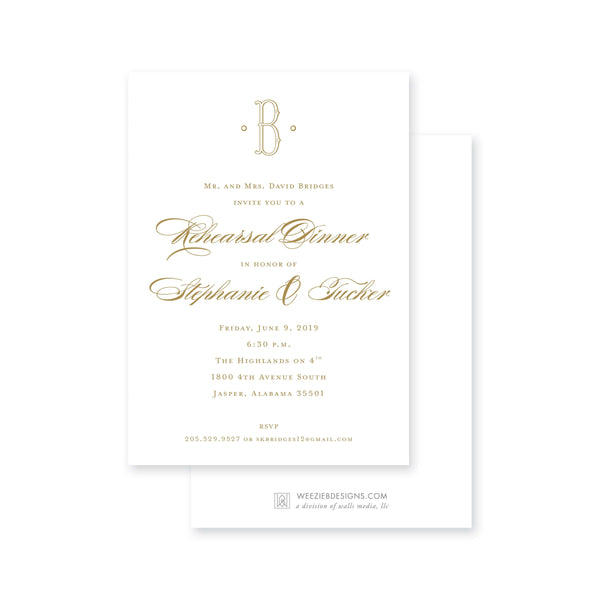 Weezie B. Designs | Simple & Chic Rehearsal Dinner Invitation