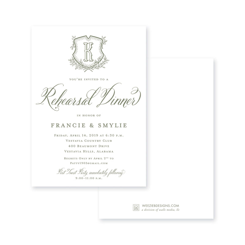 Weezie B. Designs | Floral Crest & Monogram Rehearsal Dinner Invitation