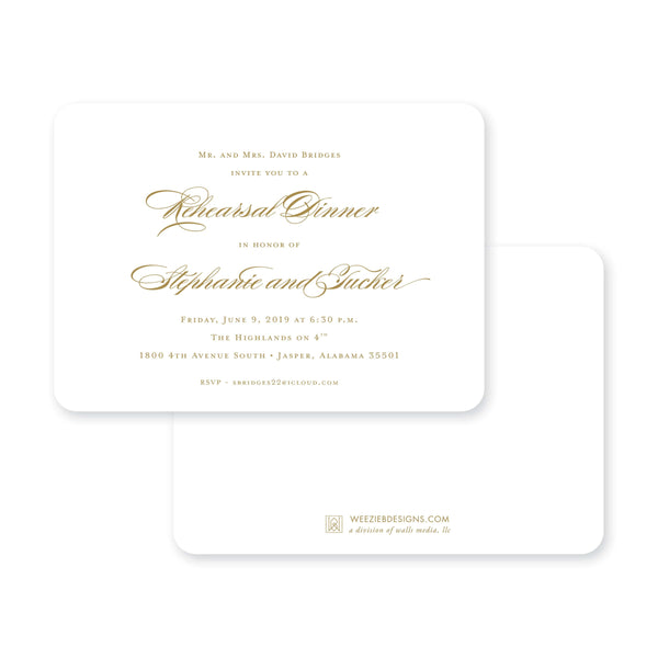 Weezie B. Designs | Simply Elegant Rehearsal Dinner Invitation