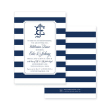 Load image into Gallery viewer, Weezie B. Designs | Monogram & Stripes Rehearsal Dinner Invitation