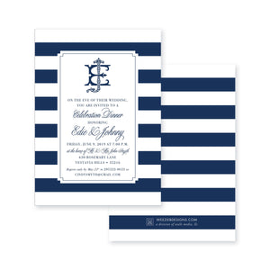 Weezie B. Designs | Monogram & Stripes Rehearsal Dinner Invitation