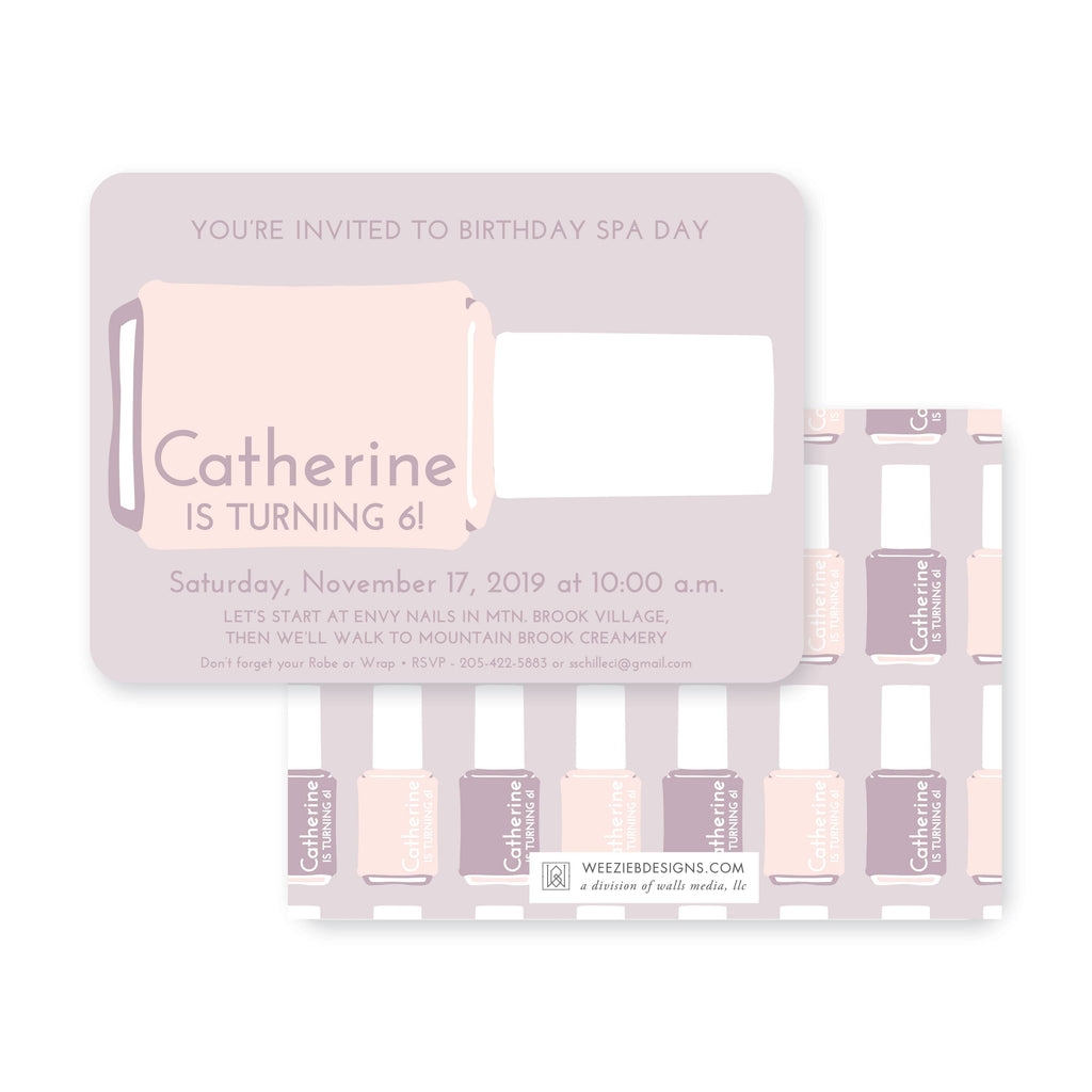 Weezie B. Designs | Kids Birthday Invitation | Chic Spa Day