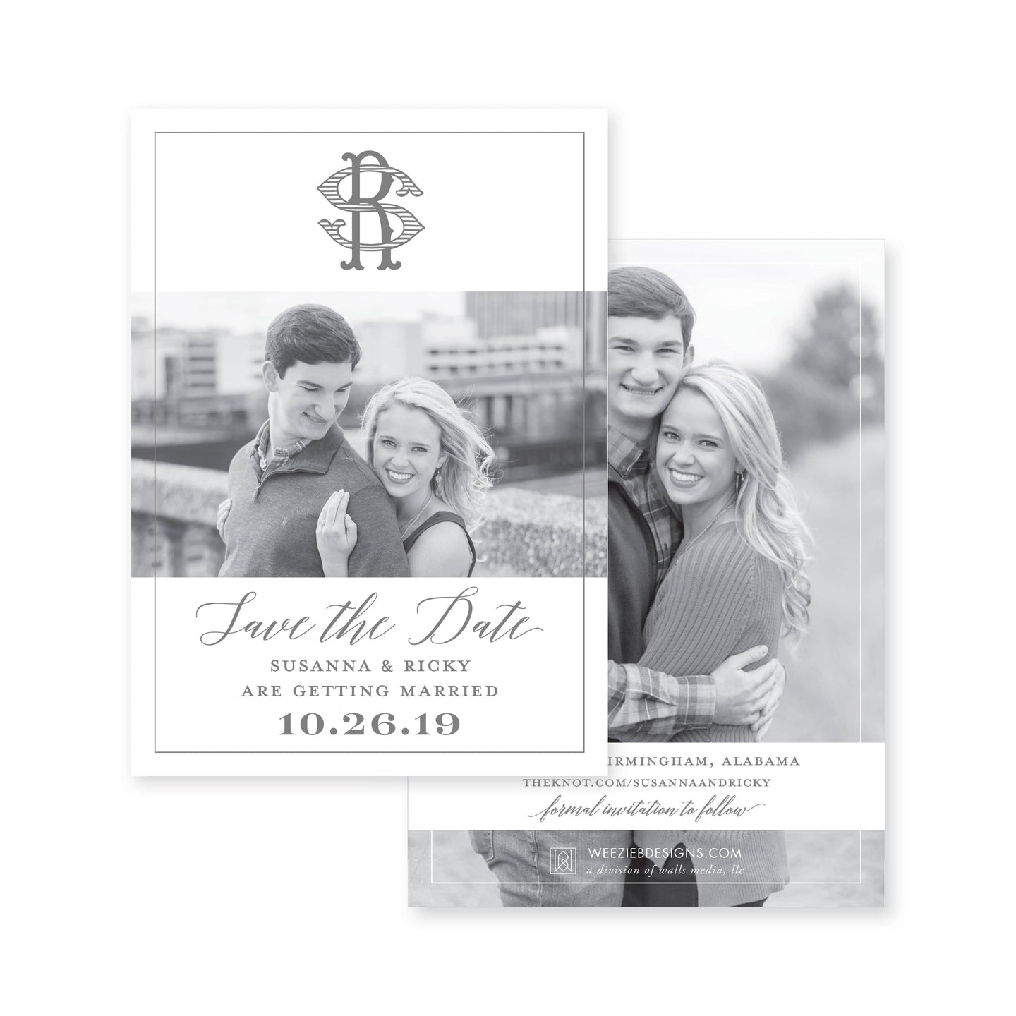 Weezie B. Designs | Photo with White Space Save-the-Date
