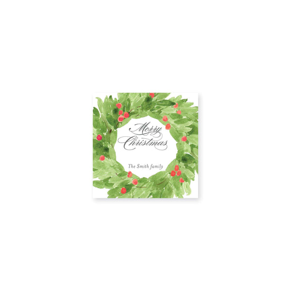 Watercolor Christmas Wreath Stickers