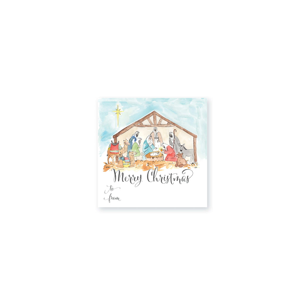 Weezie B. Designs | Watercolor Nativity Gift Stickers