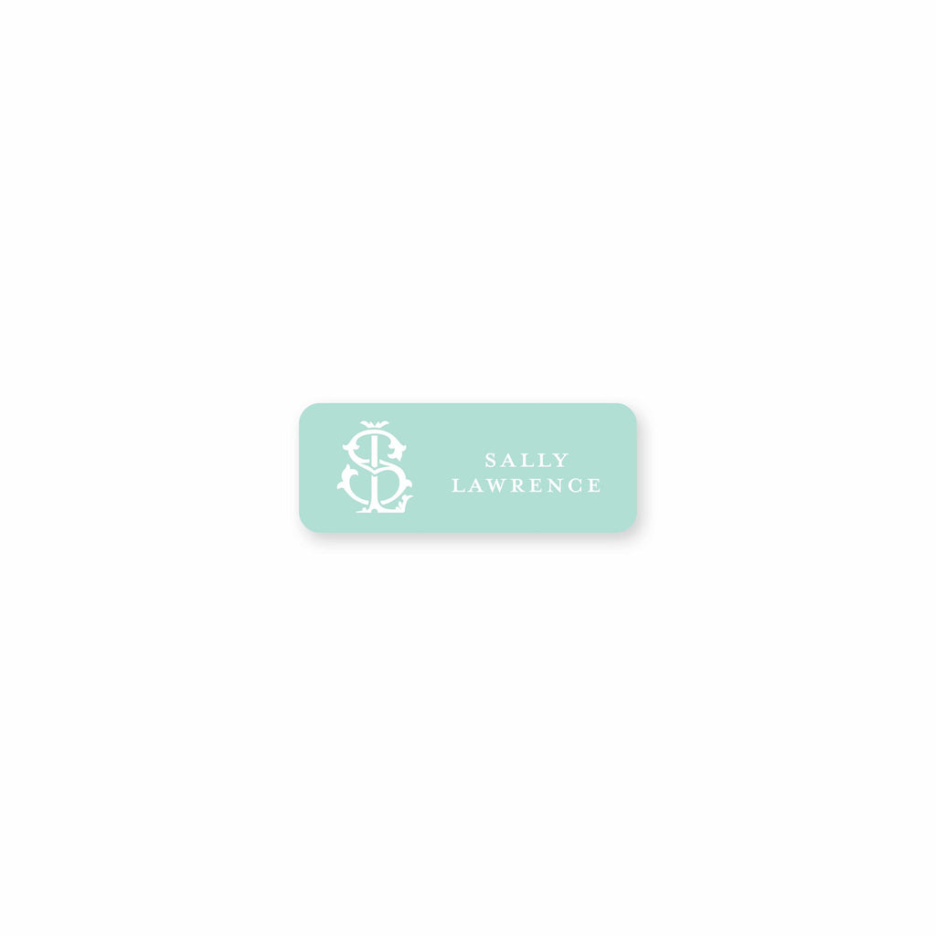 Weezie B. Designs | 2 Letter Intertwine On Seafoam Square Permanent Stickers