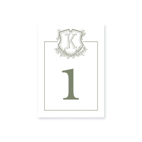 Weezie B. Designs | Floral Crest & Monogram Table Numbers