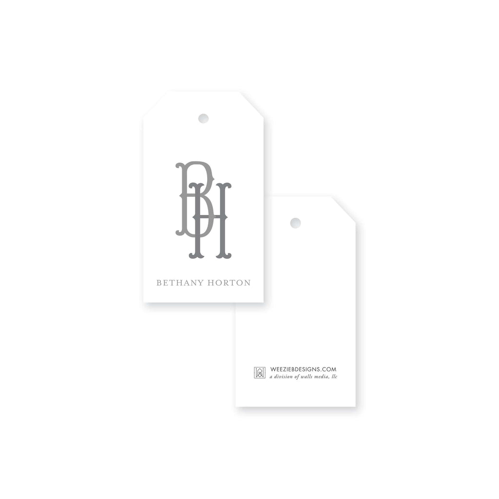 Weezie B. Designs | Two-Letter Fishtail Monogram Gift Tag