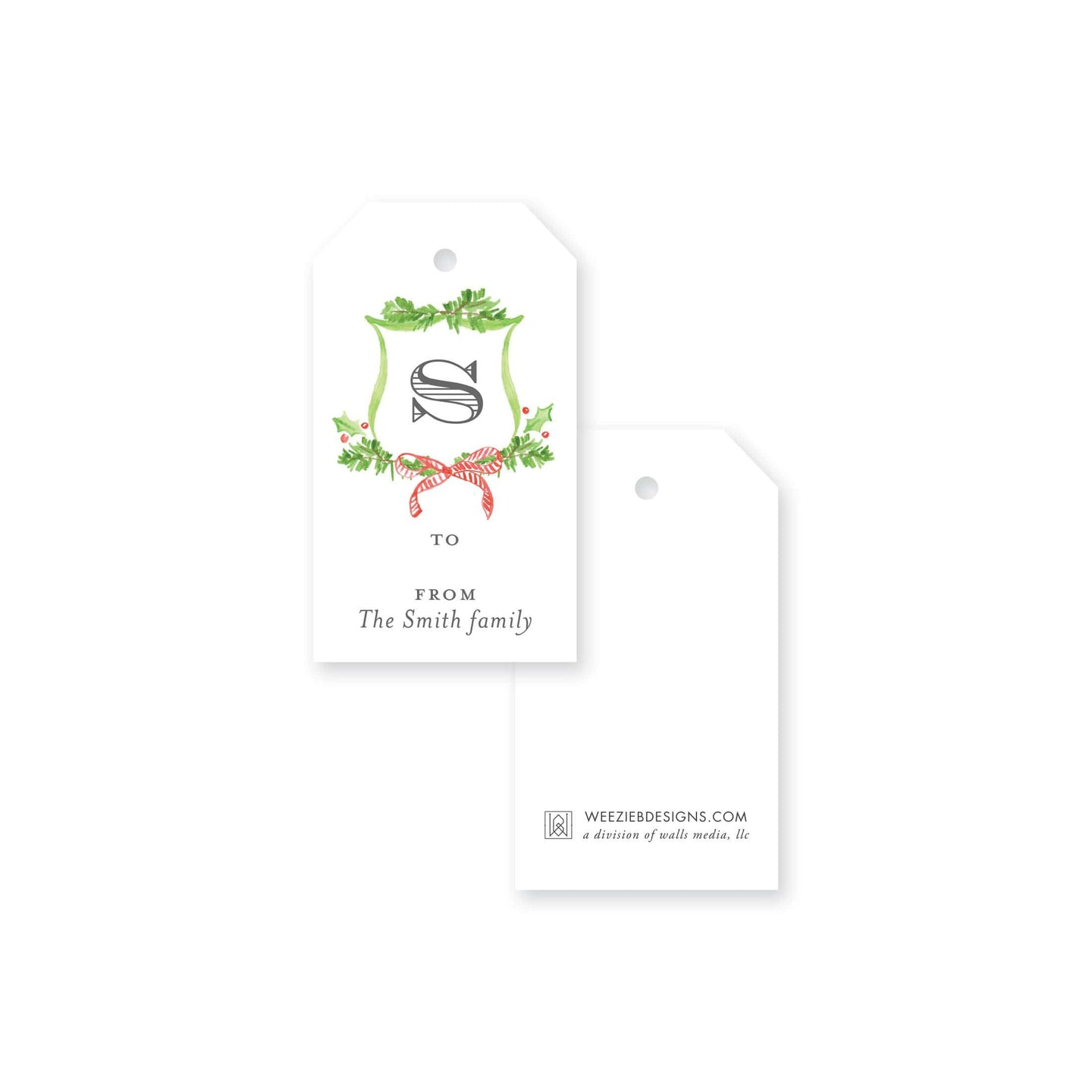 Weezie B. Designs | Christmas Watercolor Crets Gift Tag