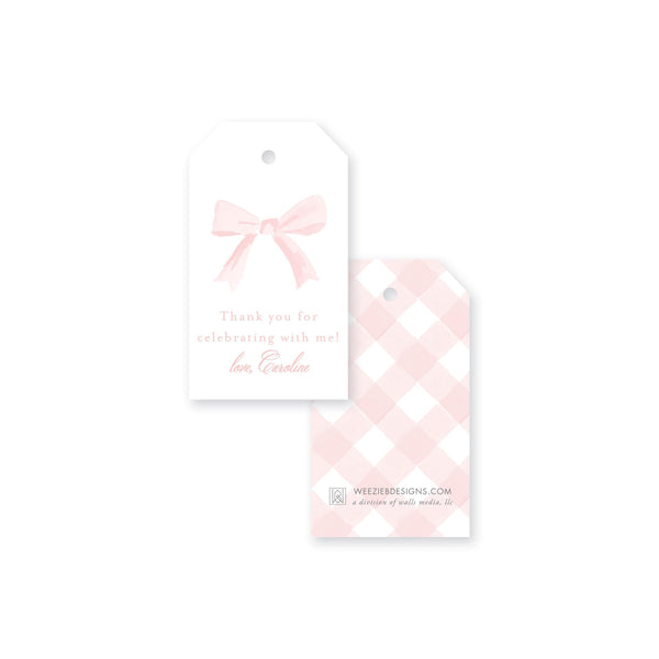 Sweet Watercolor Bow Gift Tag