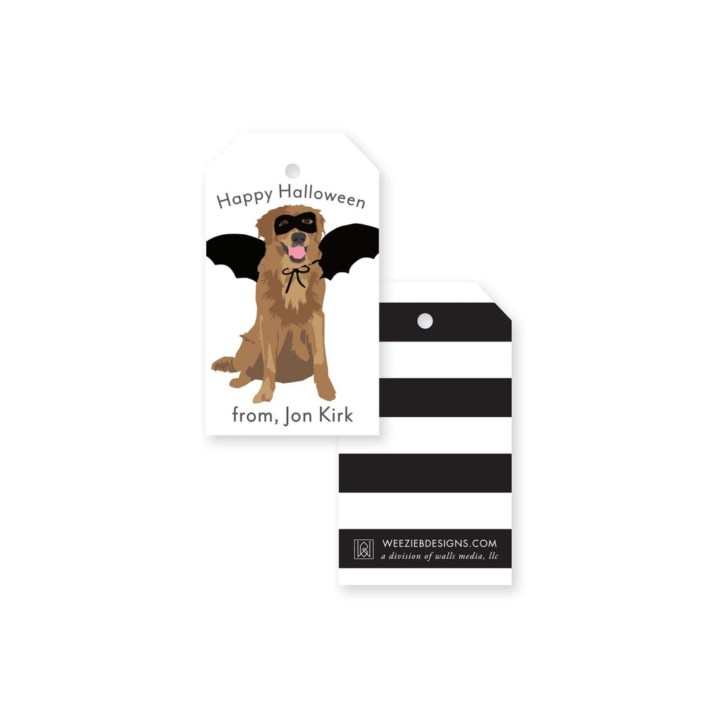 Weezie B. Designs | Halloween Golden Retriever Gift Tag