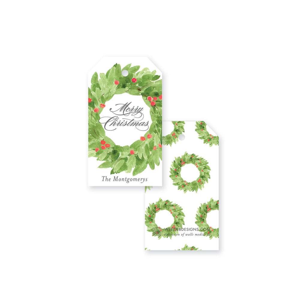 Weezie B. Designs | Watercolor Christmas Wreath Gift Tags
