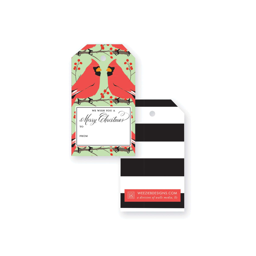 Weezie B. Designs | Red Bird Pattern Gift Tag