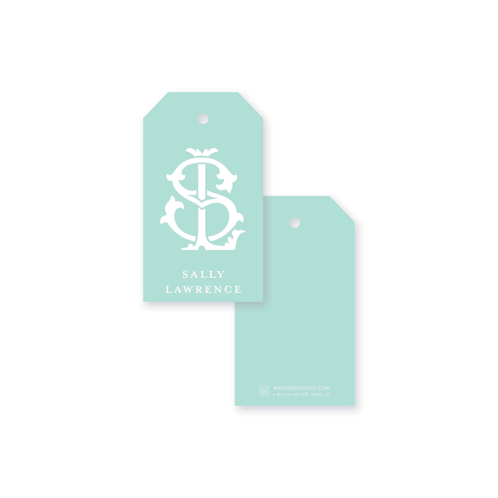 Weezie B. Designs | 2 Letter Intertwine On Seafoam Gift Tag