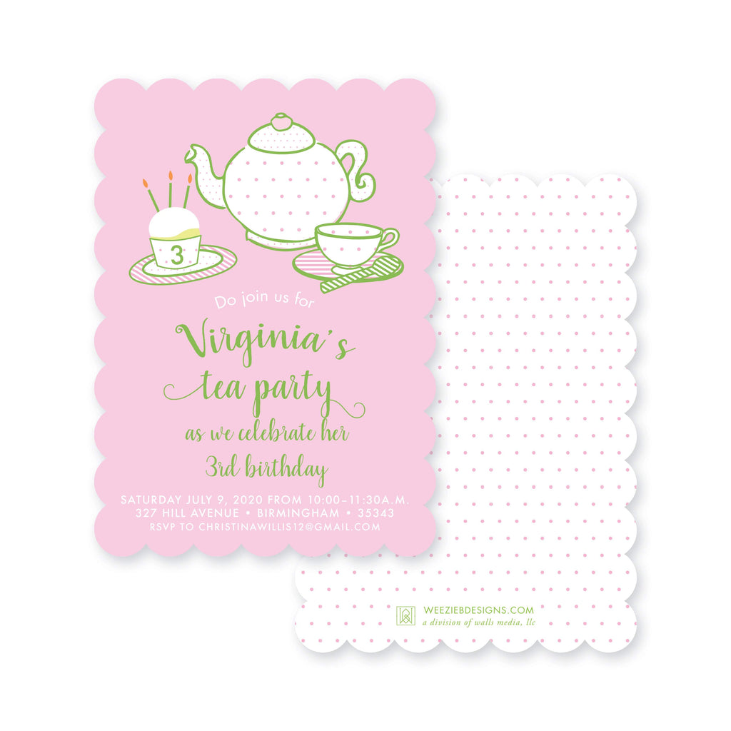 Weezie B. Designs | Tiny Tea Party Birthday Party Invitation