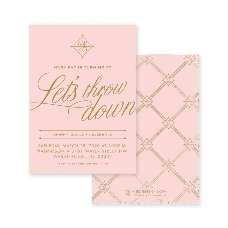 Weezie B. Designs | Let's Throw Down Birthday Party Invitation