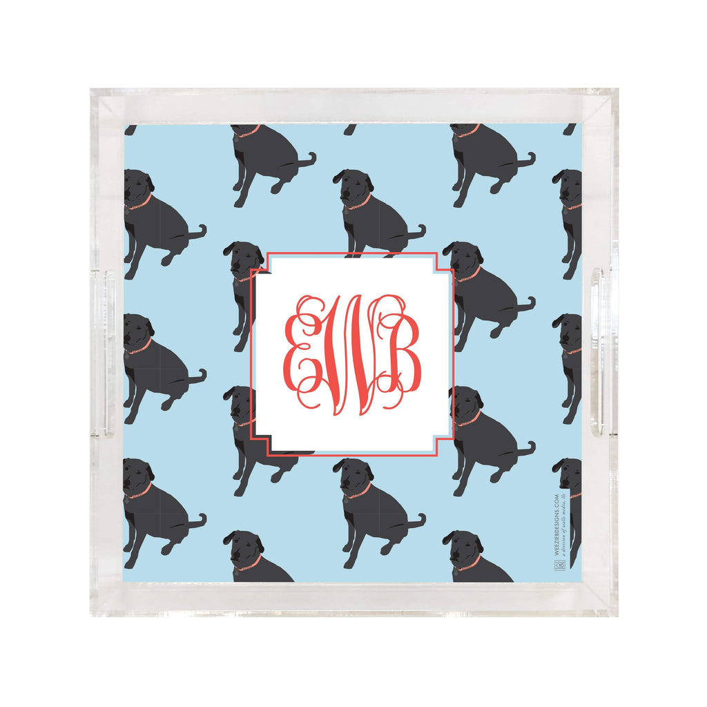 Weezie B. Designs | Black Lab on Repeat Square Large Acrylic Tray
