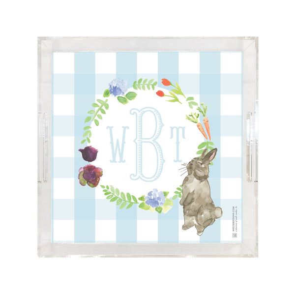Garden Bunny With Monogram Tray