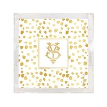 Load image into Gallery viewer, Weezie B. Designs | Gold On Gold Dots Square Large Acrylic Tray