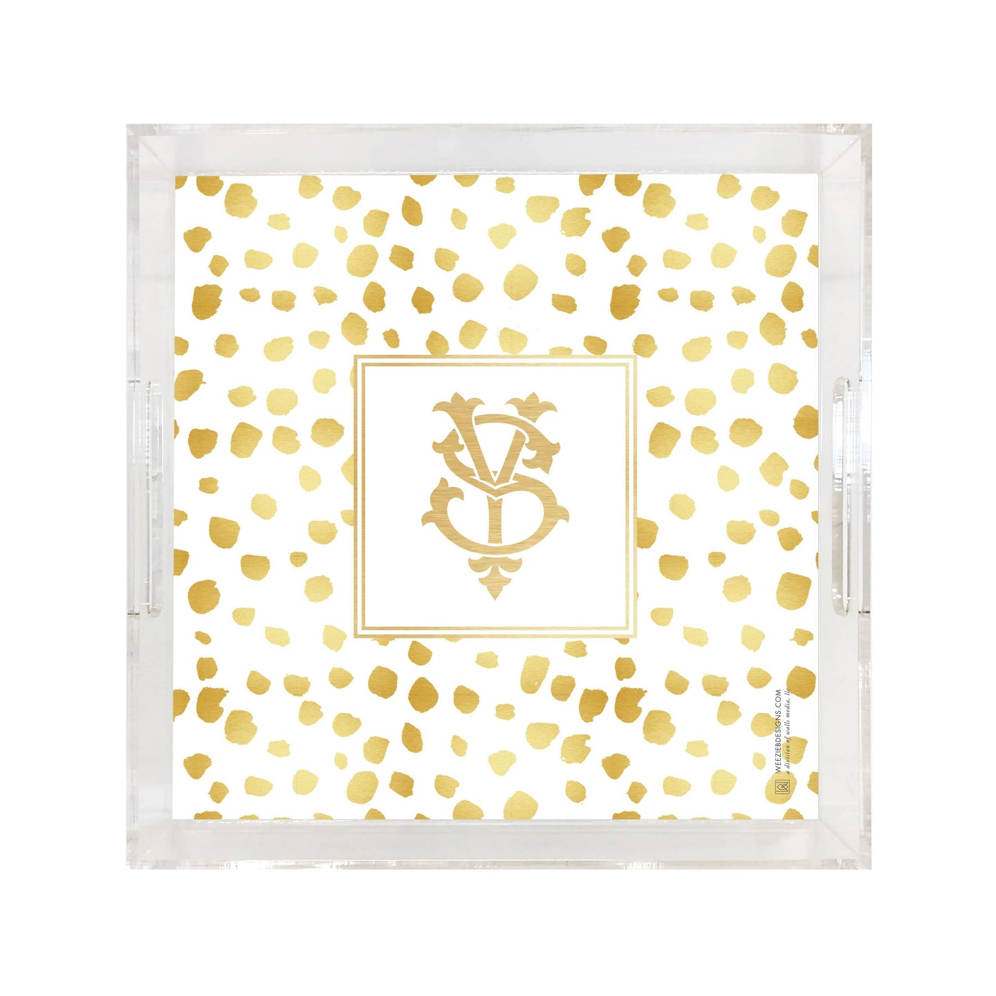 Weezie B. Designs | Gold On Gold Dots Square Large Acrylic Tray
