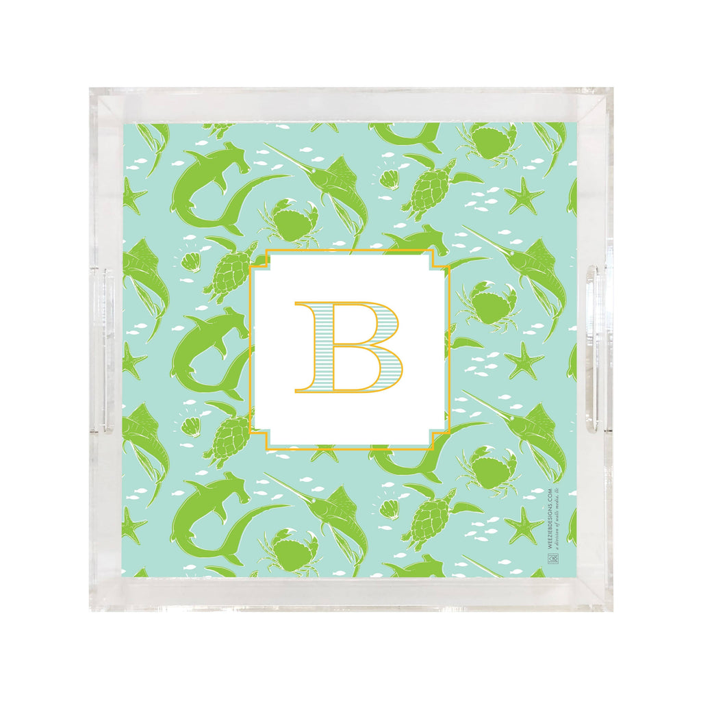 Weezie B. Designs | Sealife Chic Square Large Acrylic Tray