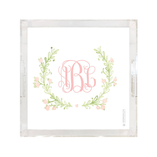 Weezie B. Designs |  Sweet Watercolor Wreath Square Large Acrylic Tray