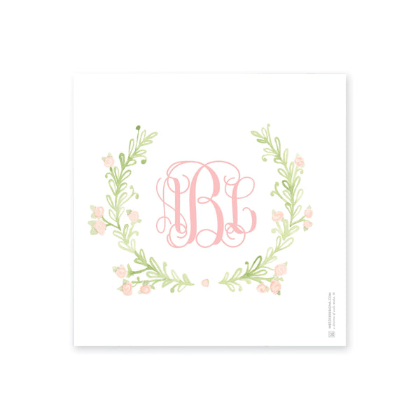 Weezie B. Designs | Sweet Watercolor Wreath Small Square Acrylic Tray Insert
