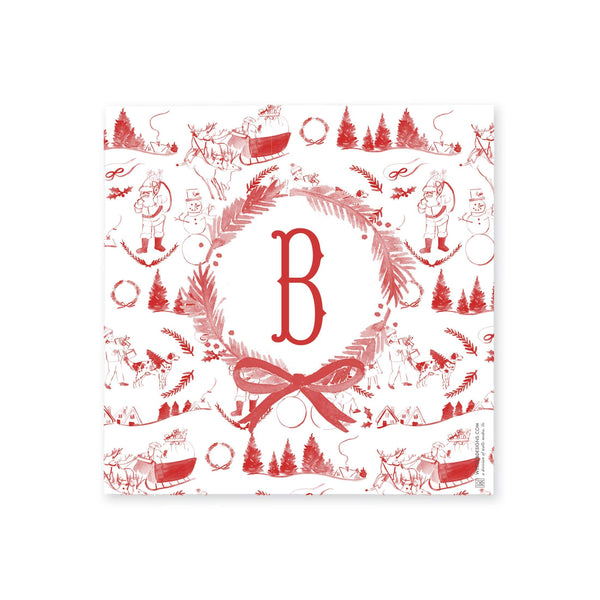 Christmas Toile In Red Tray