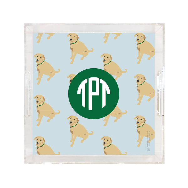 Weezie B. Designs | Yellow Lab on Repeat Square Large Acrylic Tray
