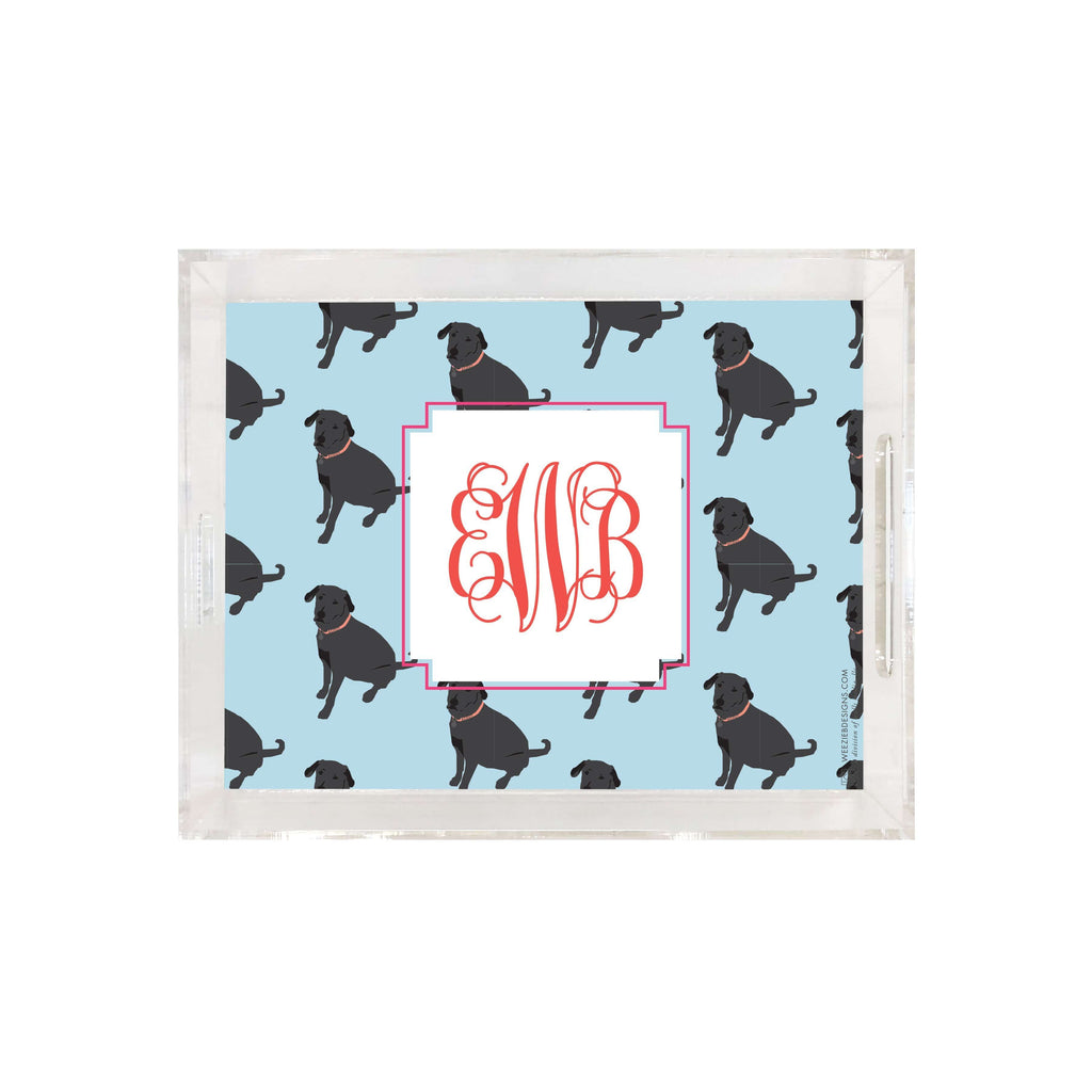 Weezie B. Designs | Black Lab on Repeat Medium Acrylic Tray