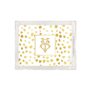 Weezie B. Designs | Gold On Gold Dots Small Square Acrylic Tray