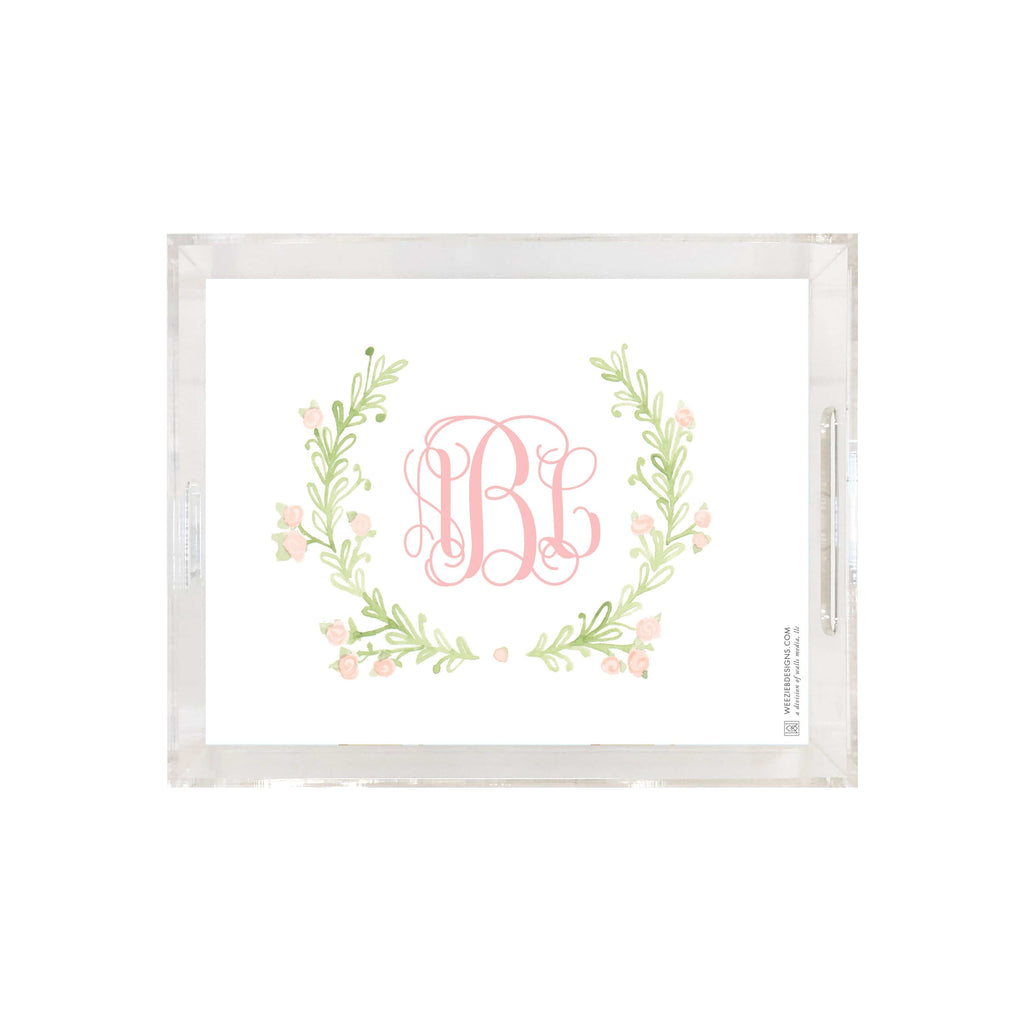 Weezie B. Designs | Sweet Watercolor Wreath Medium Acrylic Tray
