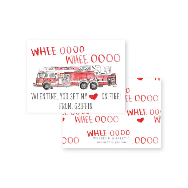 Weezie B. & Sally C. | Watercolor Firetruck Valentine's Day Cards