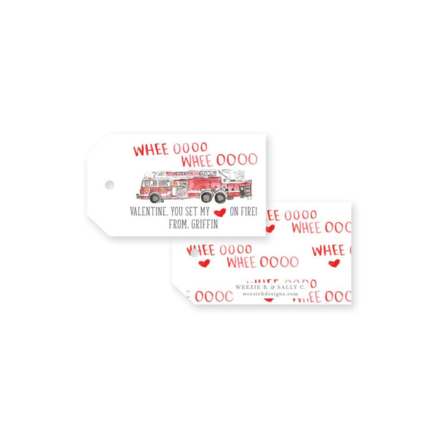 Weezie B. & Sally C. | Watercolor Firetruck Valentine's Day Gift Tags