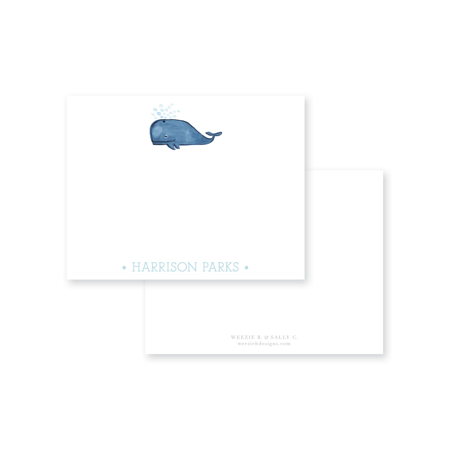 Weezie B. Designs | Whale Watercolor Flat Note Card