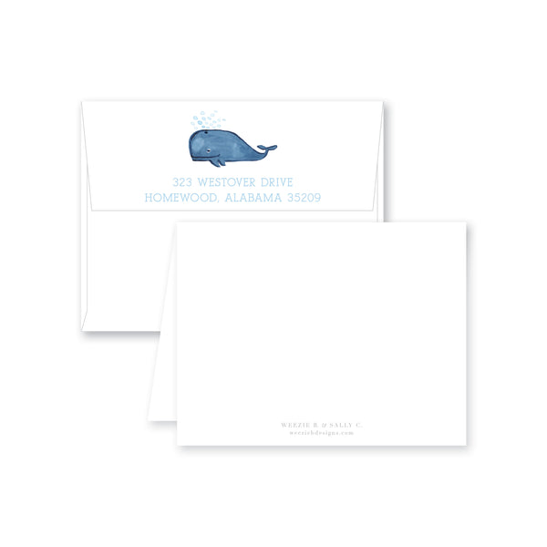 Weezie B. Designs | Whale Watercolor Folded Note Card