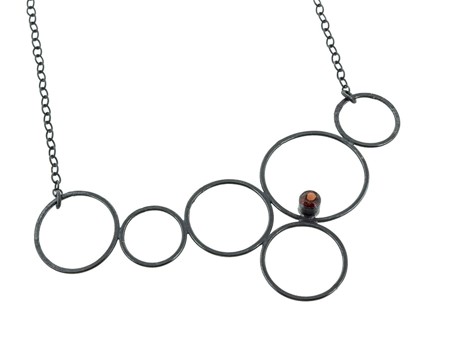 Amelyna bubble circle necklace in sterling silver with garnet by eko jewelry design