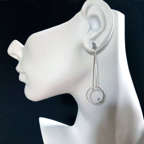 Circle silver threader earrings with gemstones by eko jewelry design by eko jewelry design, Iolana on model