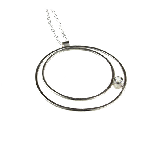 Large sterling silver double hoop necklace with gemstone by eko jewelry design, Carina