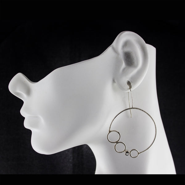 Large sterling silver hoop earrings with gemstones by eko jewelry design-Chiara on model