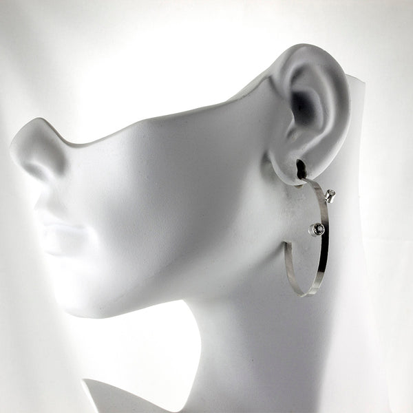 Large sterling silver hoop stud earrings with gemstones by eko jewelry design on model