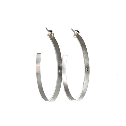Large silver hoop earrings with gemstones by eko jewelry design, Novella