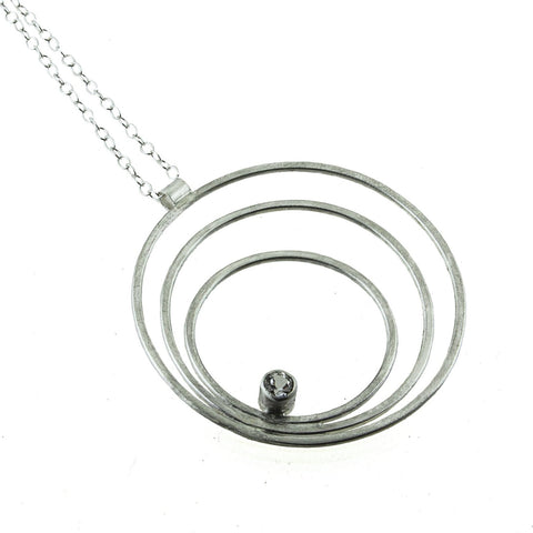 Large sterling silver triple hoop necklace with gemstone by eko jewelry design, Robia