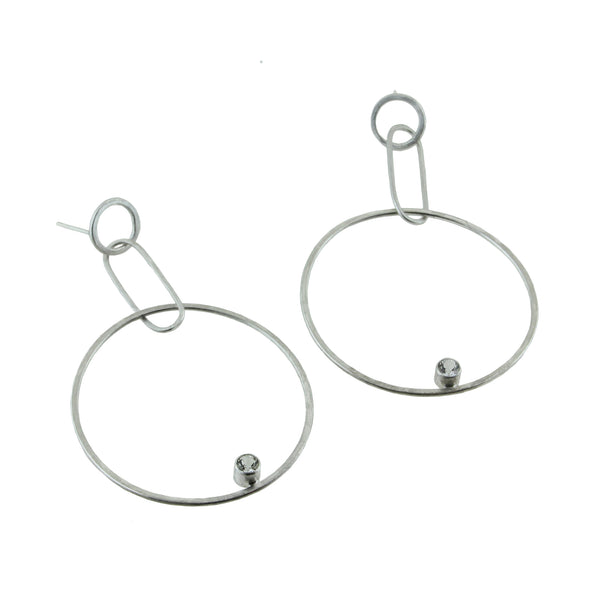 Sterling silver hoop stud earrings with gemstones by eko jewelry design, Teagin