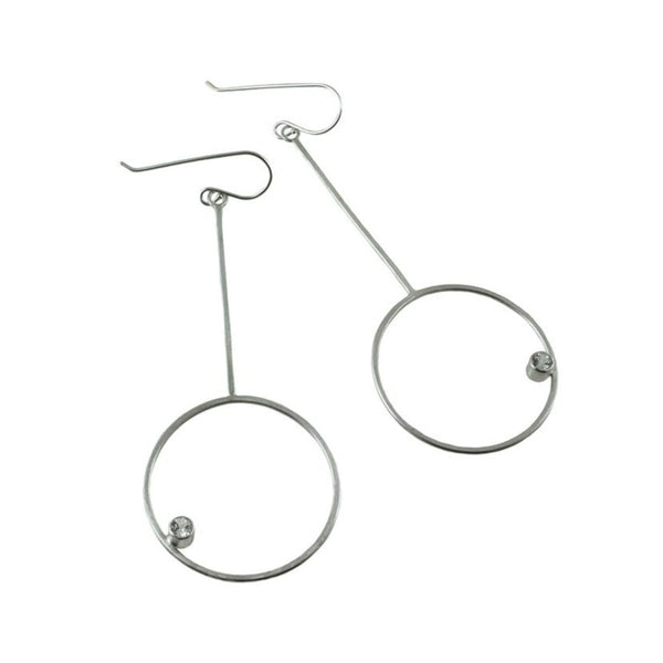 Long sterling silver hoop earrings with gemstones by eko jewelry design