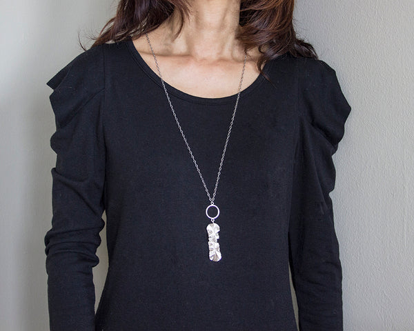 Sterling silver long leaf necklace by eko jewelry design, Jael on model