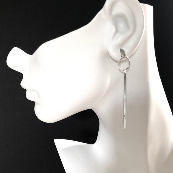 Silver bar post earrings with gemstones by eko jewelry design, Belen on model
