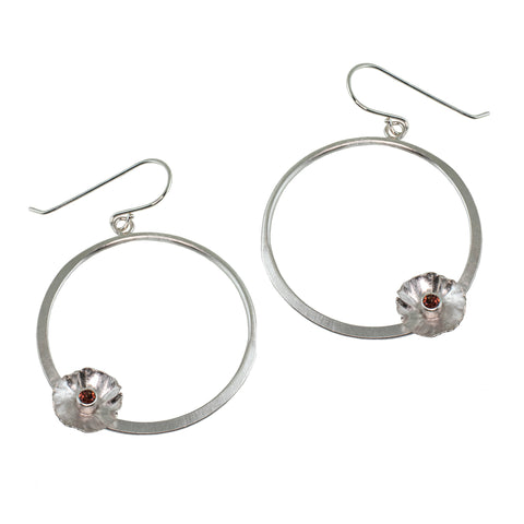 Silver flower hoop earrings with garnet by eko jewelry design, Kliantha