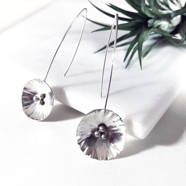 modern rustic sterling silver flower earrings by eko jewelry design, Allysa