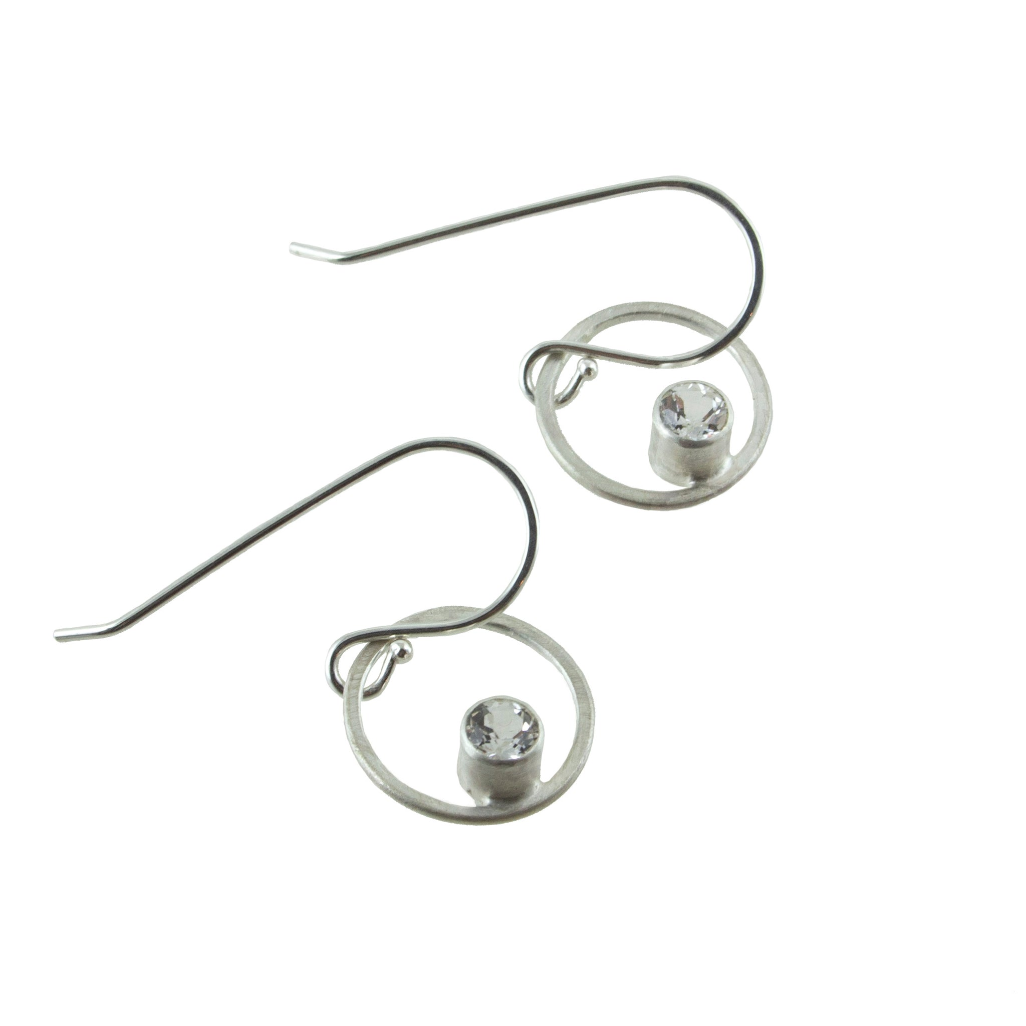 Small sterling silver circle earrings with gemstones by eko jewelry design